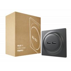 FIBARO - Prise murale 2 ports USB Fibaro Walli N USB Outlet Anthracite