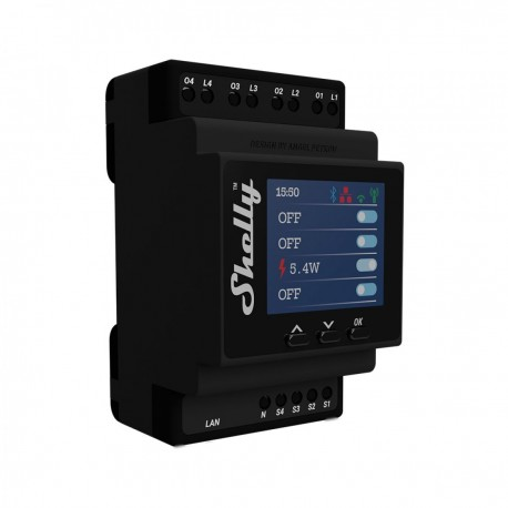 SHELLY - 4 channels DIN rail relay switch Shelly Pro 4PM