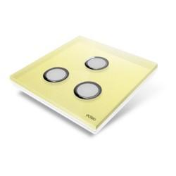 EDISIO - Plaque de recouvrement Diamond - Jaune 3 Touches