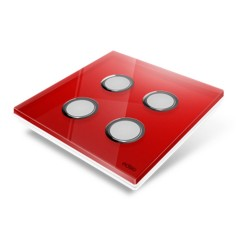 EDISIO - Cover Plate Diamond red 4 Channels