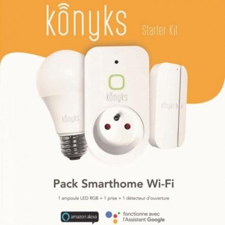 KONYKS - Kit d'automatisation pour la maison Starter Kit (1 ampoule, 1 détecteur, 1 prise)