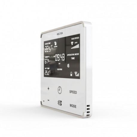 HELTUN - Thermostat Z-Wave+ pour ventilo-convecteur (verre et cadre blanc)