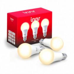 INNR - Ampoule connectée type E27 - ZigBee 3.0 - Pack de 3 ampoules - Blanc chaud - 2700K
