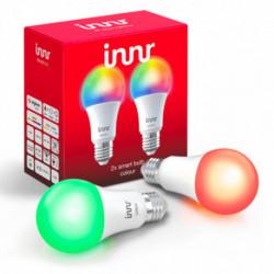 INNR - Ampoule connectée type E27 - ZigBee 3.0 - Pack de 2 ampoules - Multicolor RGBW + Blanc réglable - 2200K à 6500K